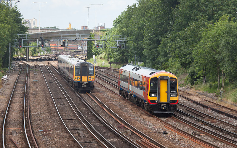 Southwest Trains 444 035 and 158 887 in Southampton, Hants.