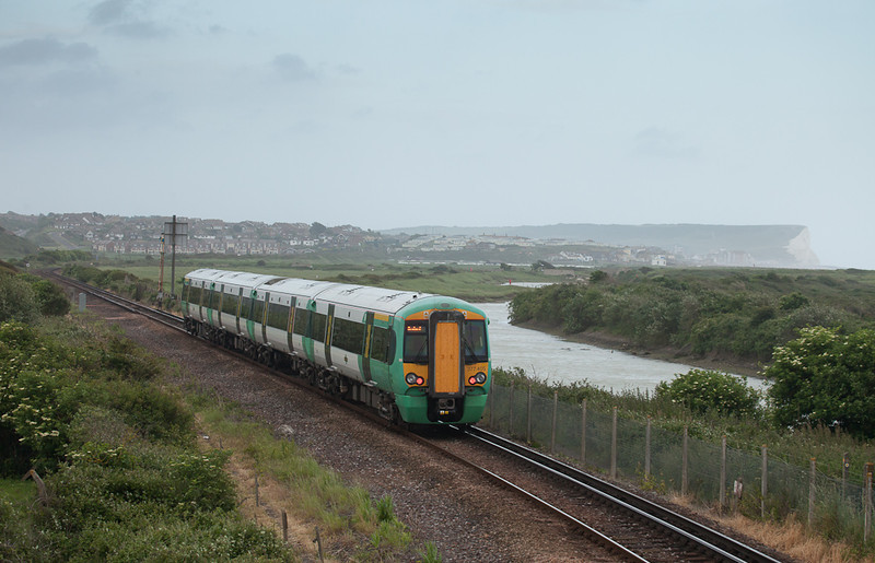 Southern 377 405 approaching Newhaven Harbour, Sussex.