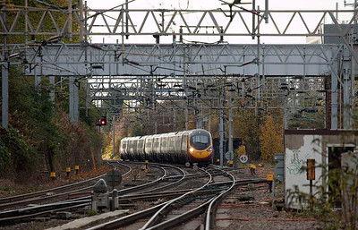 Virgin Pendolino approaching Coventry on the West Coast Main Line.