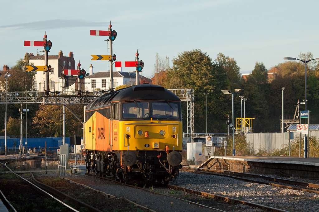 """Colas Rail 47727 """"Rebecca"""" stabled in Worcester Shrub Hill station."""