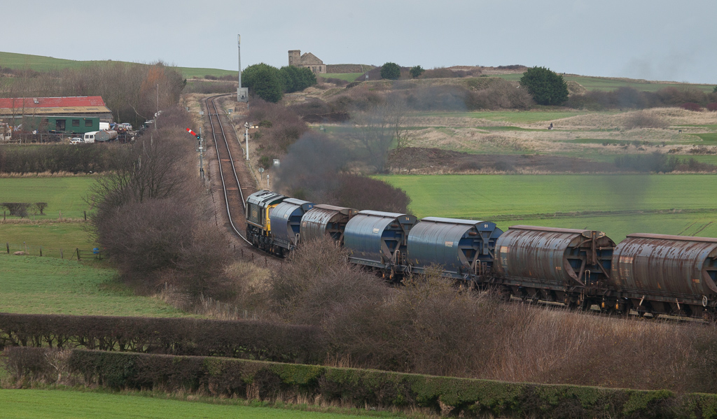 Freightliner Heavy Haul 66599 on a potash load from Boulby in Brotton.