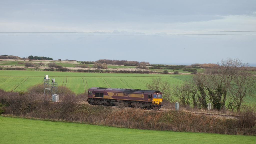 66113 light engine to Tata Steel approaches Brotton.