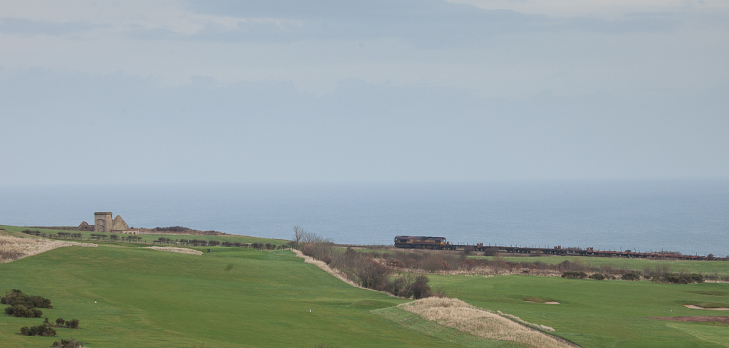 Steel train out of Tata Steel on Cattersty Cliff.