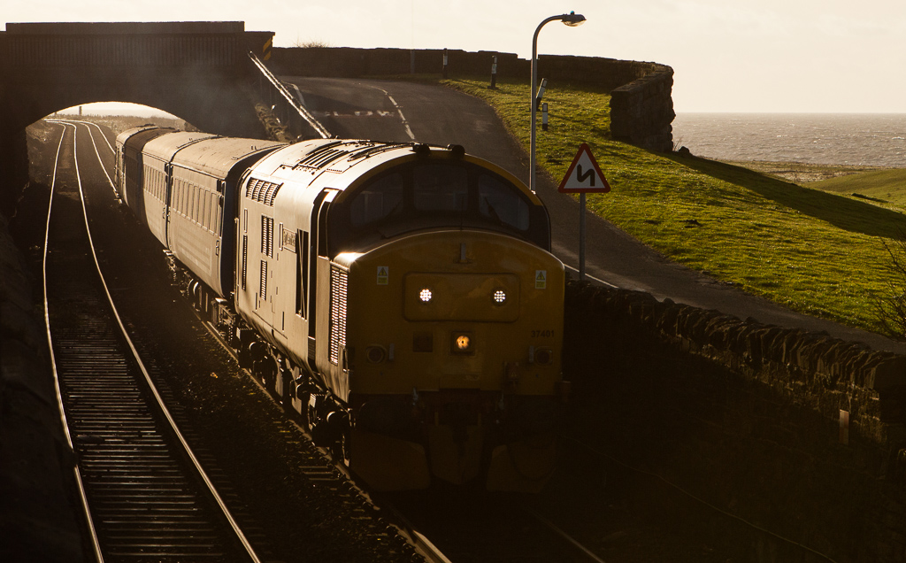 "37401 ""Mary Queen of Scots"" Barrow-in-Furness - Carlisle in Harrington."