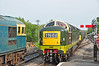 Crompton 33103 & Deltic D9009 cross at Corfe Castle station.