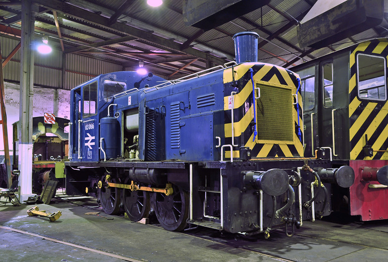 03066 undergoing repair in Barrow Hill Roundhouse 01/02/2013. Withdrawn from Gateshead depot in January 1988 she worked for a private company, before being purchased for preservation.