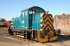 07007 gleams in the sun, seen at Eastleigh works 23/05/2009. This shunter used at Southampton docks & then used as a static generator at Eastleigh works, before restoration.