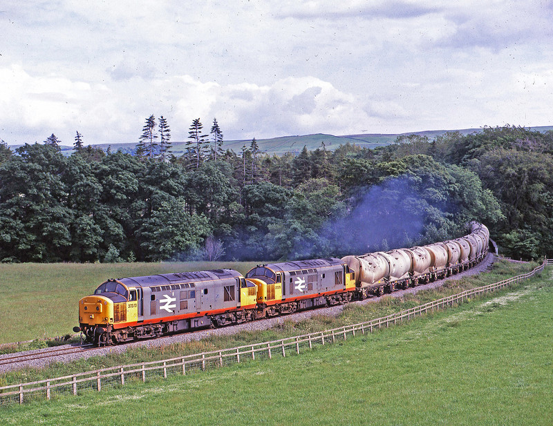 Matching pair 37373+37379 meandering up the Wear Valley past Frosterley on 24th June 1991 with Heaton to Eastgate empty cement tanks.