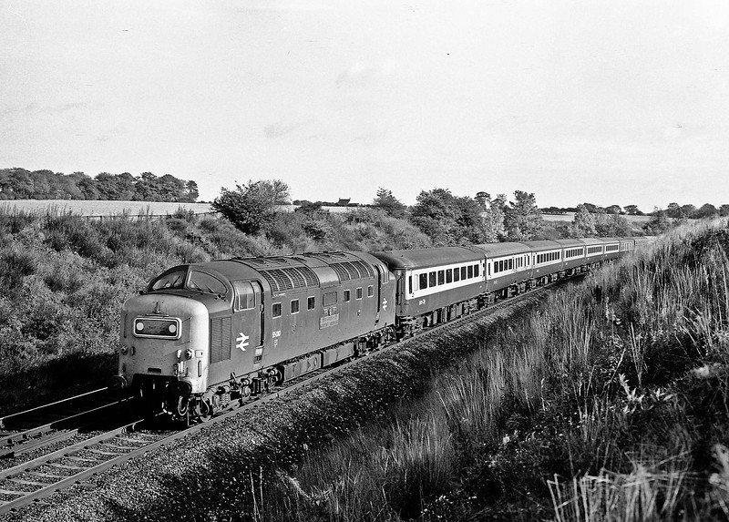 55010 KING'S OWN SCOTTISH BORDERER has the down morning Talisman, 08.00 King's Cross to Edinburgh, well under control as it races past Hett Mill before a non-stop passage of Durham station on 19th October 1974. In about an hour it will reach the home of its namesake regiment at Berwick upon Tweed.