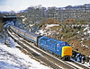 55009 ALYCIDON hustles the Doncaster Works trial south through Sunderland Bridge on 23rd March 1979.