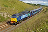 Beautifully presented 47501 hurries along the Durham Coast clifftops at Hawthorn powering 1Z43 09.06 Sunderland to KX GC Railways Family outing at 09.52 on  13th August 2007. 47802 dor to bring it back.