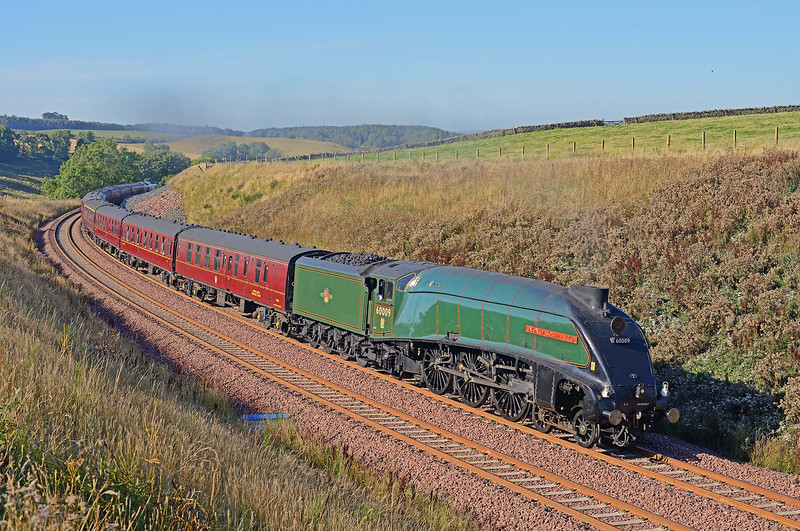 WITH THE CLASS 67 ON REAR DOING MOST OF THE WORK AND PRODUCING MORE EXHAUST THAN THE STEAM LOCO, ONE OF THE SPECIAL TRAINS CELEBRATING THE RE-OPENING OF THE NORTHERN SECTION OF THE WAVERLEY ROUTE IS CLIMBING BORTHWICK BANK ON 30TH SEPTEMBER 2015