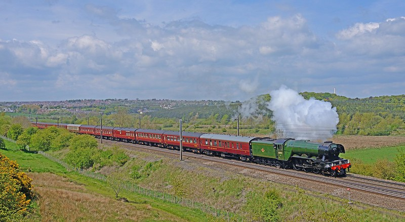 The classic line of an A3 Pacific are shown to good advantage as FLYING SCOTSMAN gets its train back on the move after a Ferryhill water stop on 17th May 2016. I was alone for this shot, as was the case with the shot of it going north 3 days earlier at Aycliffe.