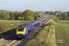 43093 leads the 1C84 13:06 Paddington - Penzance through Woodborough on Saturday 31st October 2015. 43144 brings up the rear.