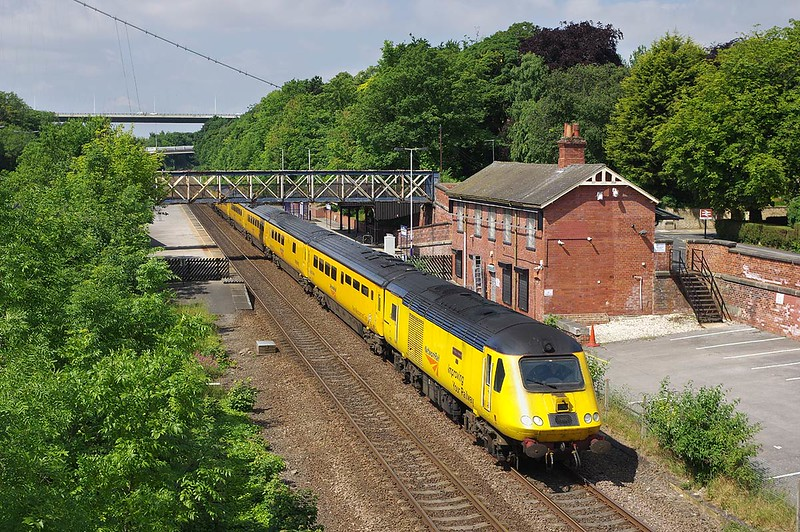 43013 leads the 09:14 Derby RTC - Hull measurement train through Hessle on Saturday 17th June 2017.