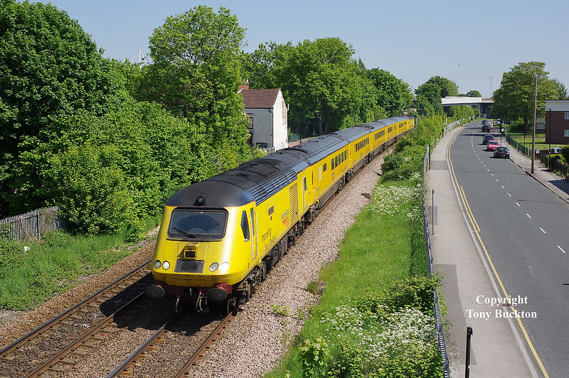 43014 leads the 11:48 Hull - Heaton measurement train past Selby Street shortly after departure on Saturday 19th May 2018.