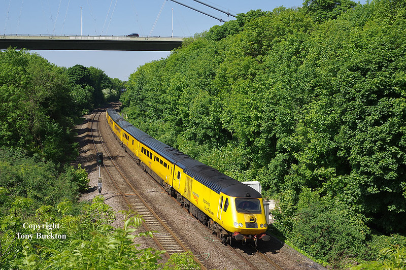 43013 leads the 09:14 Derby RTC - Hull measurement train through Hessle on Saturday 19th May 2018.