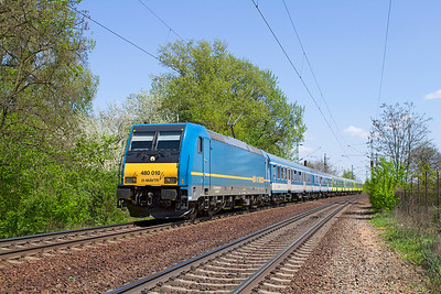 480 010 passes Szöny with Train 9304 12.38 Budapest-Keleti to Györ semi-fast service. Friday 26th April 2013.