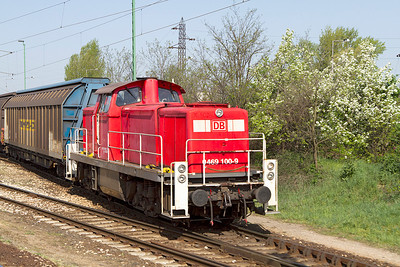 DB Schenker Rail Hungary's 469 100 shunts the yard at Györ-Gyárváros. Friday 26th April 2013.