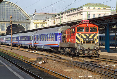 448 404 removes empty stock from Budapest Keleti. Monday 22nd April 2013.