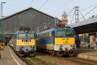 431 090 & 431 221 with empty stock trains from early morning arrivals at Budapest-Nyugati. Monday 22nd April 2013.