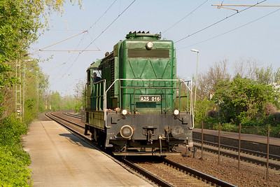 MAV Industrial shunter A25 016 now owned by MAV Nosztalgia Ltd passes Szöny heading for the fueling point at Komáron. Thursday 25th April 2013.