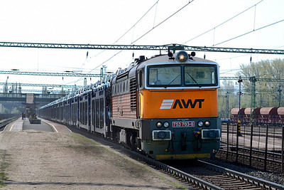 AWT's 753 703 runs through Tatabánya with westbound cars. Friday 26th April 2013.
