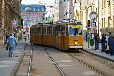 Tram 1408 arrives at the terminus of route 24 at Budapest-Keleti. Monday 22nd April 2013.