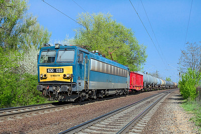 630 033 heads a short tank train west at Szöny. Thursday 25th April 2013.