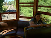 Denise at back of streetcar at Halton County Radial Railway
