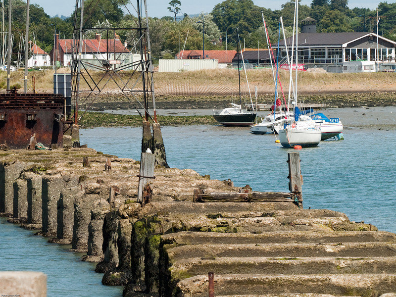 The concrete piers on which the wooden viaduct was built can be seen here. The metal structure to the left of this image is all that remains of the southern  pier of the swing bridge. Copyright 2009 Peter Drury