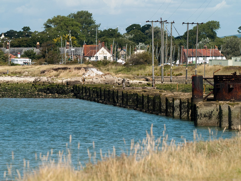 The northern approach to the Langstone viaduct. The northern swing bridge pier can be seen to the right. Copyright 2009 Peter Drury