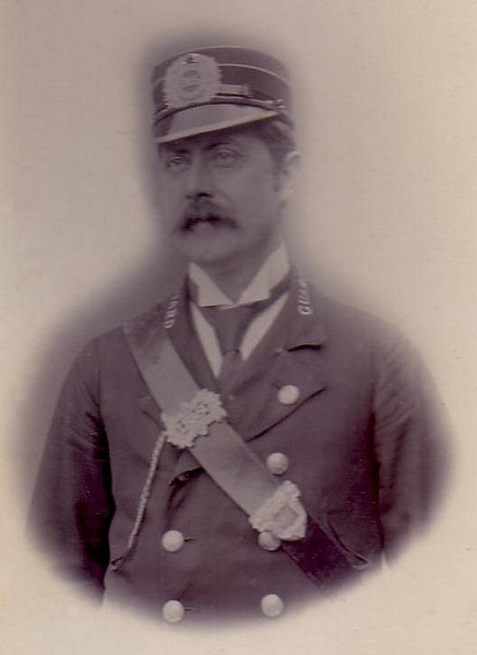 """Sam Walder in LBSCR Guards uniform circa 1899. Sam worked on the Hayling branch line for 39 years This image was found on this <a href=""""http://stillthere.info/tree5/bsamuelwalder1870.htm""""> Family Tree website</a> belonging to Geoff Nutting. This website is well worth a visit. Image re-produced on my site courtesy of Roger Nash (the copyright holder)."""