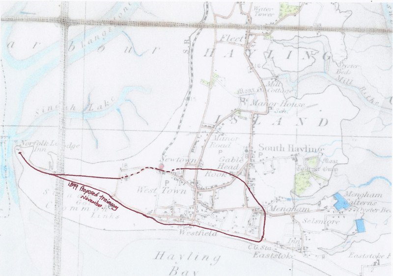 """Route of proposed tramway. Read the article about this here > <a href=""""http://www.haylingbilly50.co.uk/node/84"""">http://www.haylingbilly50.co.uk/node/84</a>"""