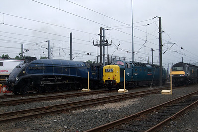 60007 Sir Nigel Gresley, 55022 Royal Scots Grey and 43068.