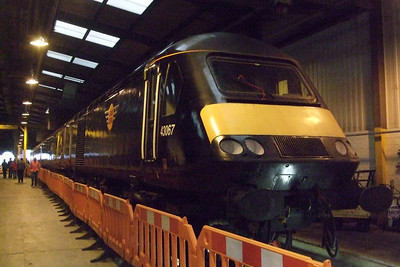 43067, Grand Central HST power car, in the shed at Heaton.