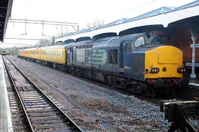 37611 tnt 37612 1153/1Q52 Enfield Town-Hertford East arrives at its destination. 14/02/13.