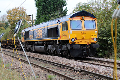 66746  sits just west of Ware Station on the ex 6T60 Whitemoor-Hertford East engineers, 28/10/12.