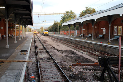 Hertford East Station after the first rails had been laid on the Down line, 30/10/12.
