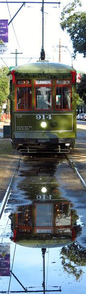 Reflective St. Charles Line streetcar at Napoleon.