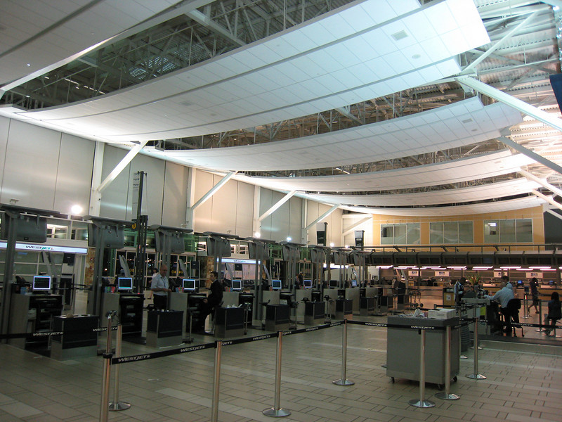 Vancouver International Airport's domestic departures hall at night.  It's always got a strange peace about it, once all the passengers clear out.