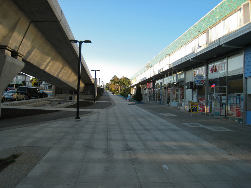 This used to be a street, until Cambie Street was moved to the west to accommodate the Canada Line descending from its Richmond/Airport elevated guideway to a tunnel through Vancouver.