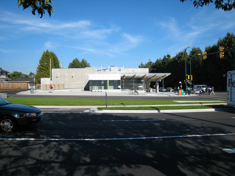 The station building at Langara - 49th Station.  I'm not sure how the large expanse of concrete wall will fit into the residential context.