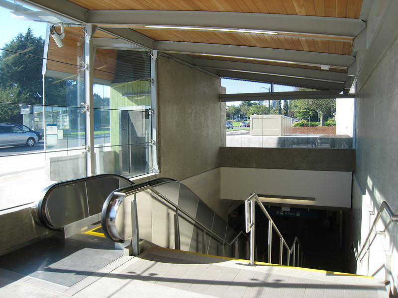 One of the (few) advantages of cut-and-cover tunnel building is that the stations can be very close to the surface.  Langara - 49th Station is only about one and a half storeys below the street.
