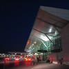 The domestic terminal at Vancouver International Airport at night.