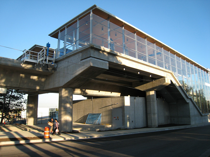 Marine Drive Station as seen from the corner of Cambie and Marine.  Strangely, the station faces away from the streets it is designed to serve.