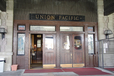 Entrance to the Oregon Short Line/Union Pacific depot in West Yellowstone, MT.