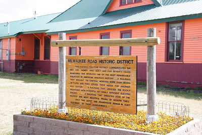 Plaque at the Milwaukee Road depot in Harlowton, MT. Also at this location are a roundhouse and shop building which were not accessible when I was there.