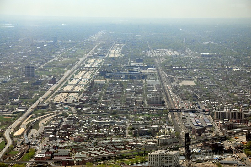 Looking South from the Sears Tower, you can see the Dan Ryan and US Cellular Field