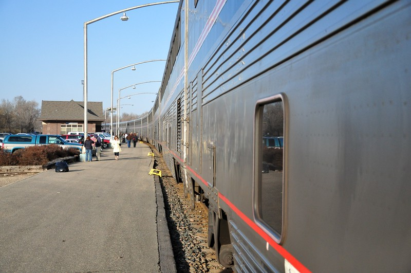 """The Empire Builder stretches off past the station in Minot, ND.  This was a """"smoke stop"""", so we had about 15 minutes off the train to wander about."""